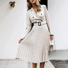 Aartiee Elegant 2019 Autumn winter ladies Blazer dress Button belt long sleeve dress female plaid dresses women Sexy vestidos
