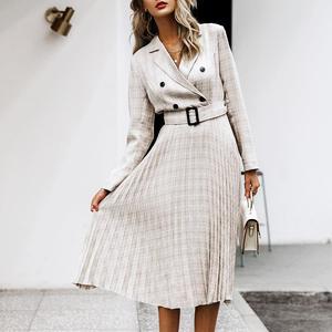 Image 1 - Aartiee Elegant 2019 Autumn winter ladies Blazer dress Button belt long sleeve dress female plaid dresses women Sexy vestidos