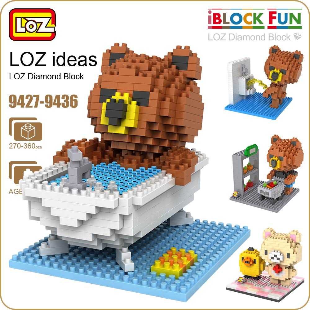LOZ Diamond Blocks Cartoon Bears Action Figures Cute Building Plastic Assembly Toys Micro Brick Nano Educational DIY 9427-9436 1500 2200 pcs big size plastic cute cartoon designs of mini nano blocks diamond mini block toys for children diy game