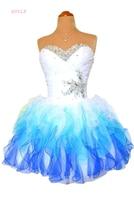 Blue Homecoming Dresses A line Sweetheart Short Mini Organza Beaded Crystals Elegant Cocktail Dresses
