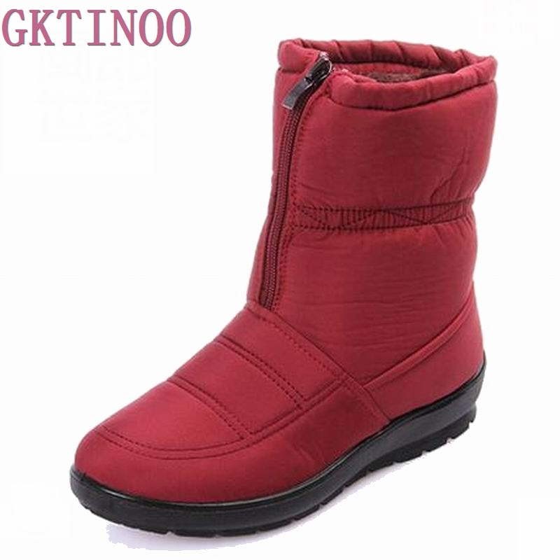 2017 Snow Boots Winter Brand Warm Non slip Waterproof Women Boots Mother Shoes Casual Cotton Winter