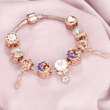 High Quality Trends Tassel Heart Flower Crystal Beads Rose Gold Charm Bracelets & Bangles Trend Jewelry Best Gift Women Party(China)