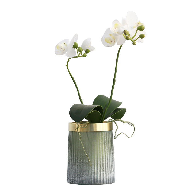 Hot Sale Creative Matte Old Glass Bottle Flower Vase Ornament Copper