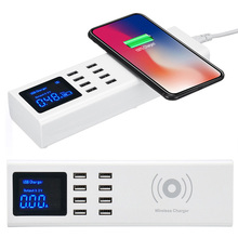 Qi Беспроводное зарядное устройство Универсальный Великобритания США ЕС 8 портов USB быстрое зарядное устройство станция со светодио дный ным дисплеем Зарядка для планшета подставка для мобильного телефона