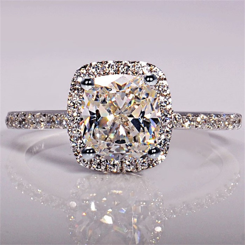 YANHUI Luxury 925 Solid Silver Wedding Rings 3ct CZ Zircon Engagement Jewelry Fashion Silver Rings Gift for Women CHR001