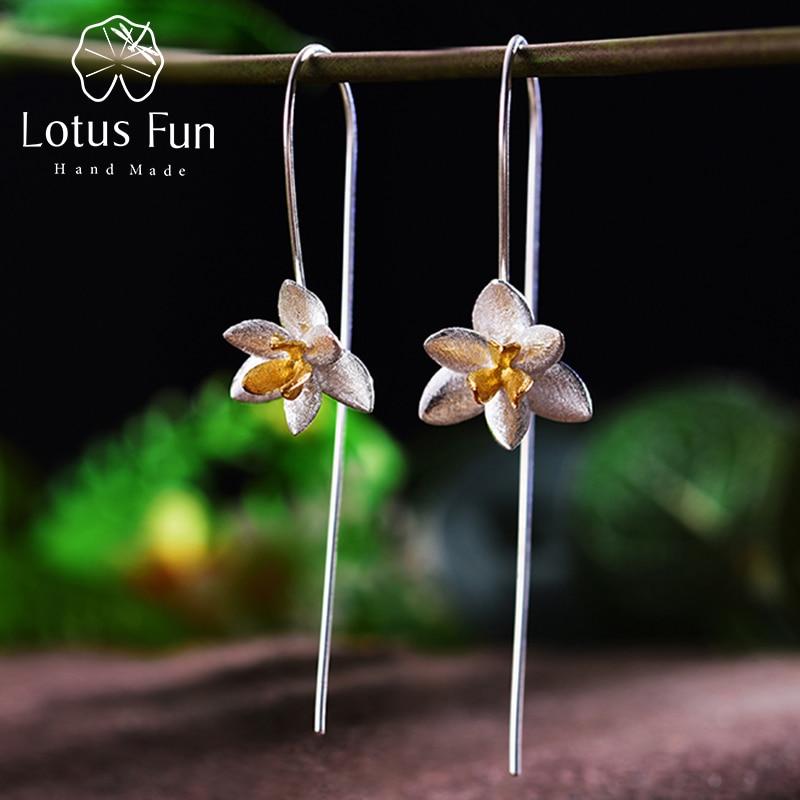 Lotus Fun Real 925 проби в стерлінговому стилі, натуральний оригінальний, вишукані ювелірні вироби ручної роботи, милі квітучі квітки, модні краплі сережки для жінок
