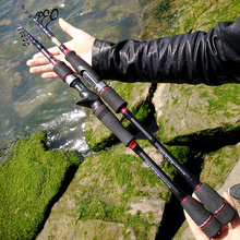 telescopic fishing rod spinning casting carbon lure rod M power 2.1/2.4/2.7m,lure 10-21g contracted fish pole protable surf rod недорого