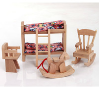 W007 High Quality Children Gift Kids Wooden Toy Furniture Doll House Set DIY Educational Toys Baby