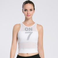 Quick Dry Sexy Gym Sleeveless Yoga Shirt Women Mesh Tops Padded Professional Fitness Running White Yoga