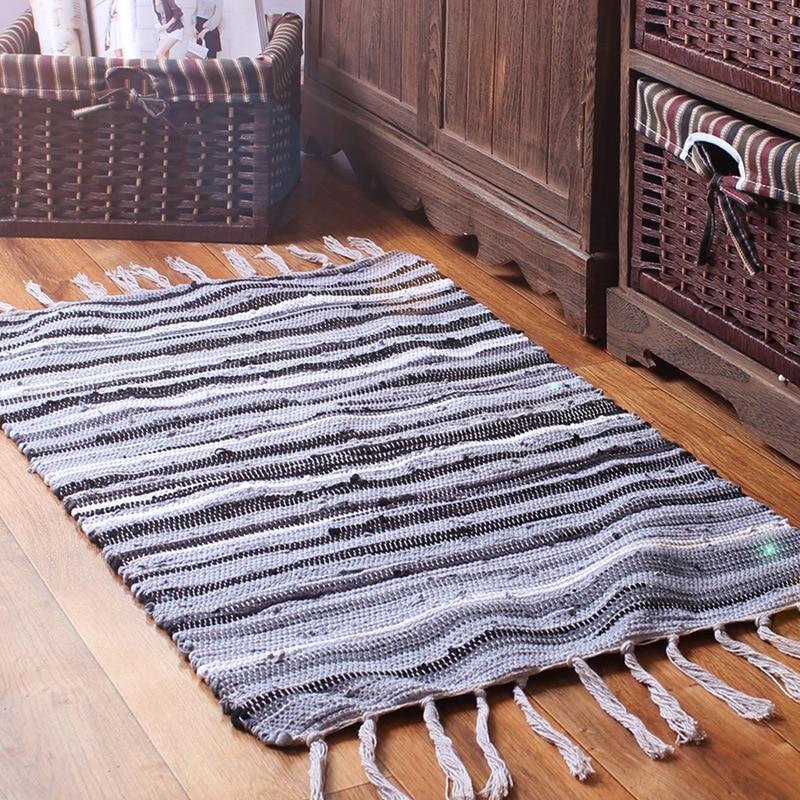 Enipate Mediterranean Style 100% Cotton Rug Kitchen Long Mats Bedroom Door Living Room Stitching Doormat Absorbent Pad