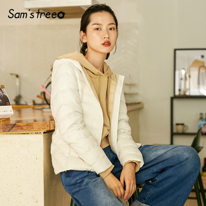 Samstree Winter Women Light Down Jacket Korean Style Hooded 90 White Duck Down Short Coats Slim
