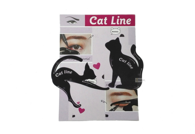 2pcs Cute Cat Eyeliner Stencil kit for eyebrows guide template Maquiagem eye shadow frames card makeup tools 2