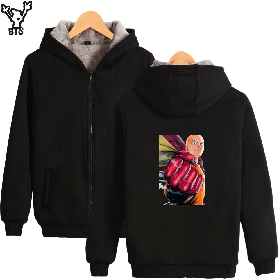 BTS ONE PUNCH-MAN Hoodies Men Zipper Black Long Sleeve Warm Winter Coat Amine Printed Casual Hoodies Men Sweatshirt Tracksuit