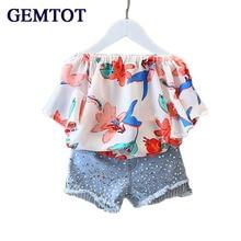 GEMTOT 2017 Girls Clothes Suit Chiffon Blouse + Denim Shorts 2pcs /Set Fashion Word Collar Strapless Shirt Diamond kids Suit