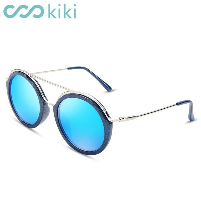 d8aed2e4b14231 KIKI 2017 Vrouwen Gepolariseerde Zonnebril Ronde Merk Designer Blauw  Rechthoek Bril Rijden UV400 gafas oculos de
