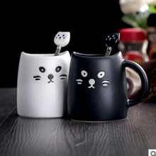 Black and White Creative Modeling Cat Ceramic Cup With Spoon Mug Cup Of Milk Cup