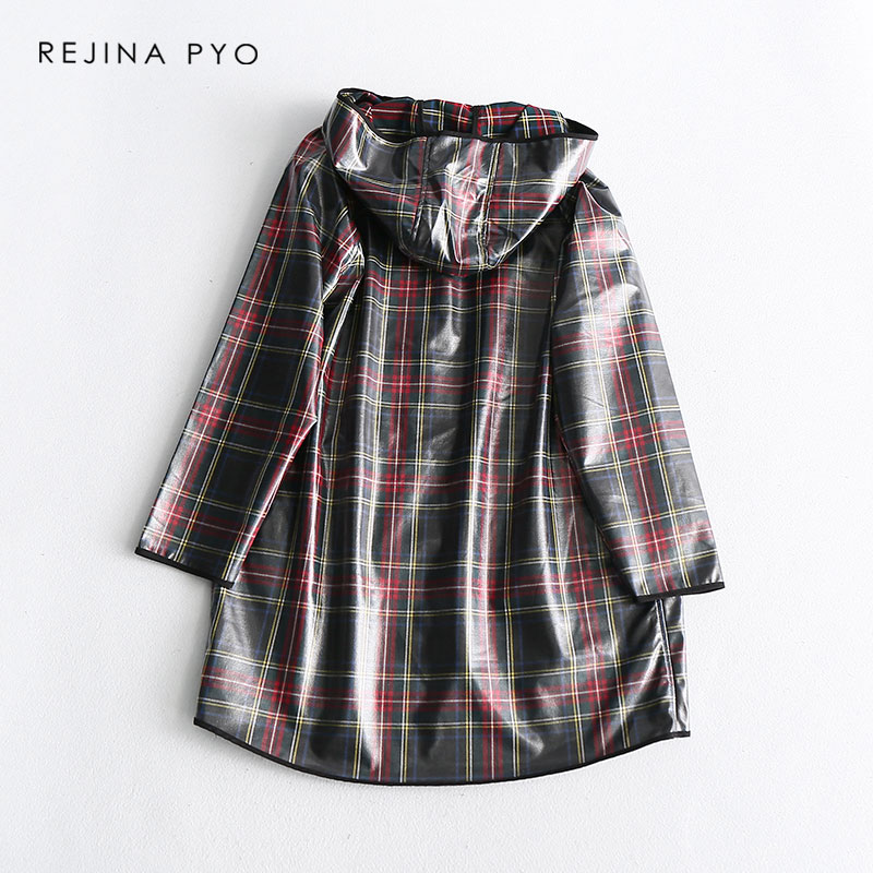 REJINAPYO Women Vintage Style Plaid Hooded Transparent Raincoat Long Trench Coat Covered Buttons High Street Plus Size