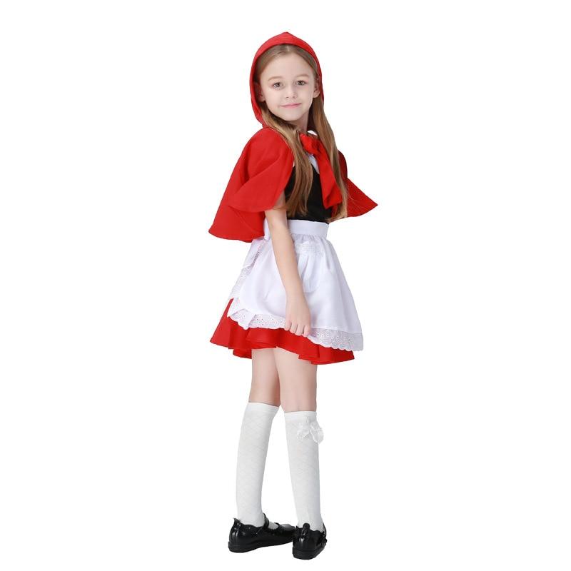 2017 New Children Girls Little Red Riding Hood Cute Dress+Cloak+Apron Maid Dress Costume Cosplay Clothing Halloween Supplies Hot цена 2017