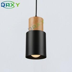 Image 3 - E27 Creative Simple Wood Pendant Lights Led Black/White Hanging Lamp Metal Kitchen Bar Hotel Bedroom Luminaire Suspendu[D7567]
