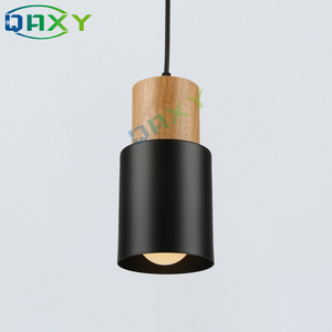 Image 3 - E27 クリエイティブシンプルな木製ペンダントライト led ブラック/ホワイトぶら下げランプ金属キッチンバーホテル寝室照明器具 suspendu [d7567]