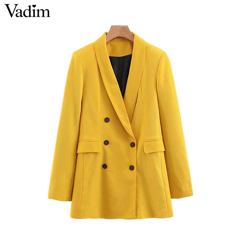 Vadim Women Chic Yellow Blazer Pockets Double Breasted Long Sleeve Office Wear Coat Solid Female Casual Outerwear Tops CA365(China)