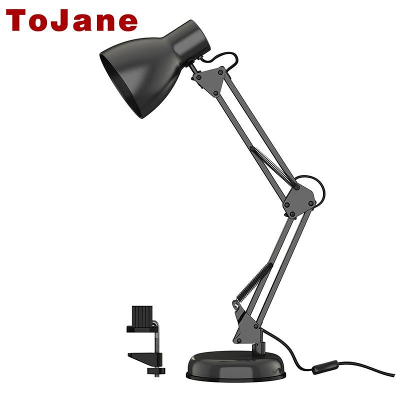 Tojane Long Swing Arm Desk Lamp Twin Arm Clip On Led Desk