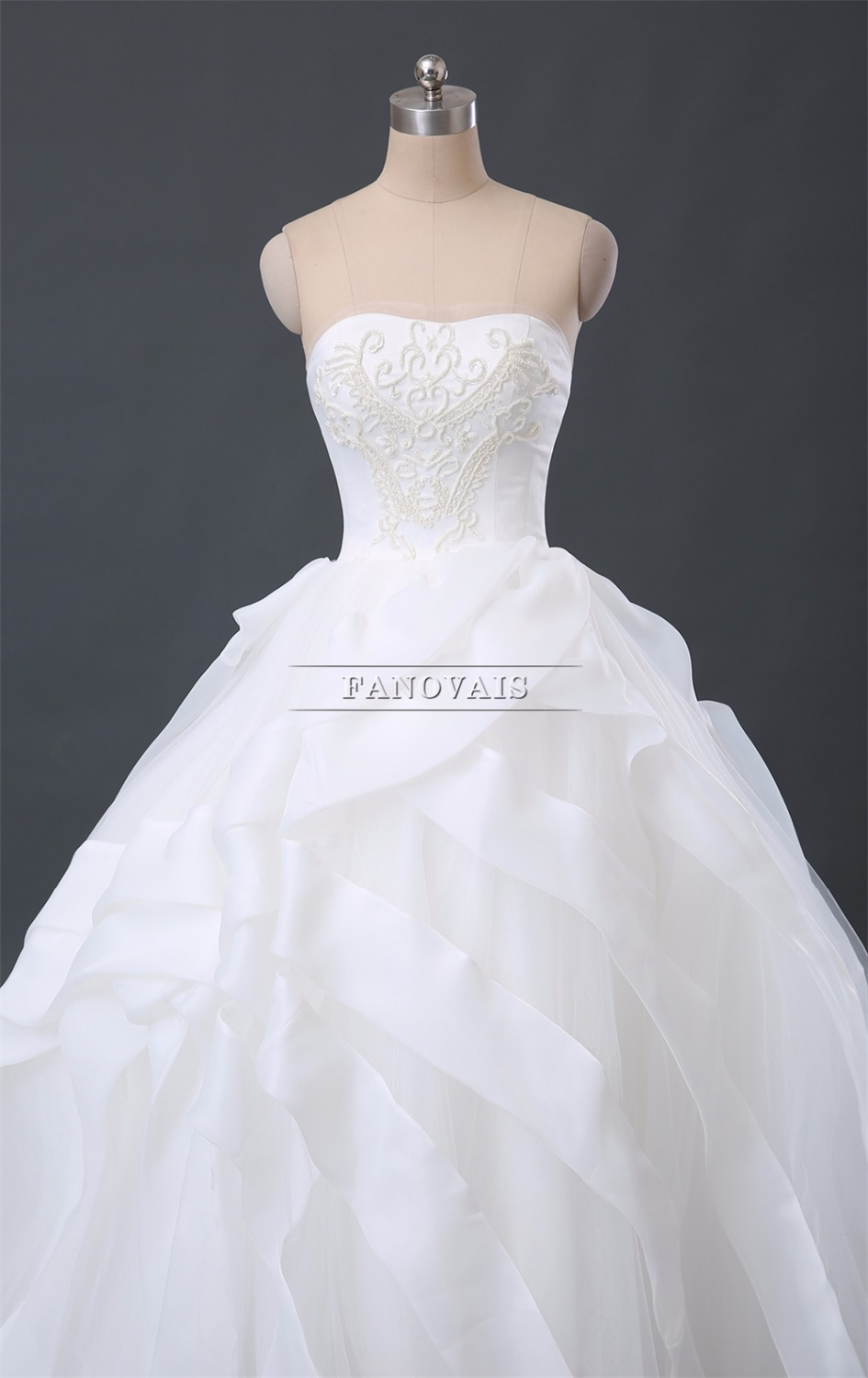 Real Photo Gorgeous Dubai Strapless Ball Gown Wedding Dresses Pearls ...