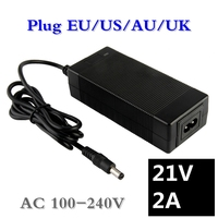 100 240V DC21V 2A Polymer Lithium Battery Charger DC 5 5MM 2 1MM Portable Charger EU