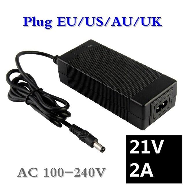 Chargeur de batterie au lithium 21 v 18 v 2a 5 séries 100-240 V 21 V 2A chargeur de batterie pour batterie au lithium avec lumière LED montre la charge
