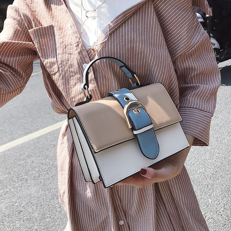 Women's Designer Handbag 2018 Fashion New High quality PU Leather Women bag Contrast Lady Tote Shoulder Messenger Bag Crossbody