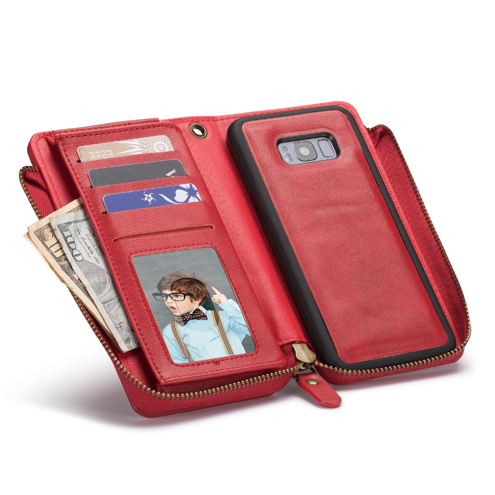 Zipper Flip Wallet Case for Samsung S8 S9 Plus PU Leather Phone Case Card Holder Slot Pocket Purse for Galaxy Note 5 8 9 S5 S6