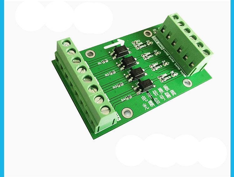 Quad Optocoupler Isolation Board PLC Signal Level Voltage Conversion Board 3.3 5 12 24V