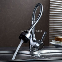 Wholesale And Retail Newly Kitchen Flexible Mixer Taps Chrome Brass Faucets Single Hole Pull Out Faucet
