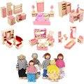 Casa de bonecas de madeira móveis brinquedos para bonecas crianças fingir jogar brinquedos quarto cozinha 6 quarto conjunto casa de bonecas em miniatura para crianças criança