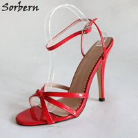Sorbern Sexy Red Sandals 12Cm Stilettos High Heel Shoes Slingback Sandal Shoes Women Sandals 2018 Summer Runway Shoes Diy Colors