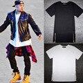 Lado de La Cremallera de Oro Camiseta de Algodón sólido Hombres Tyga Fresco larga Camiseta Ocasional de Hip hop T Shirt Negro Extendido/blanco/Gris/Rojo