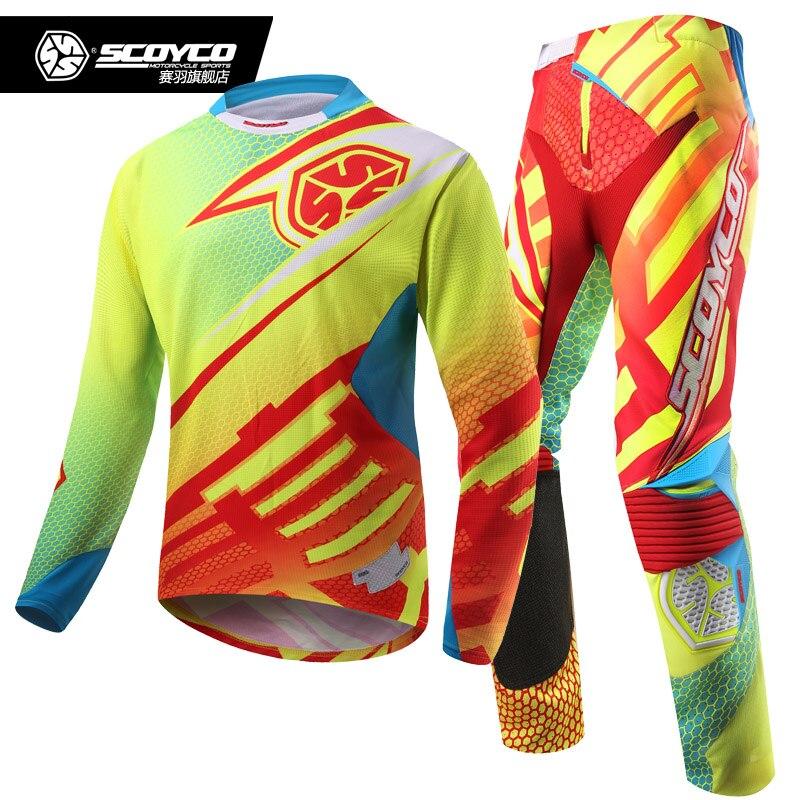 SCOYCO course saleté vélo pantalon Jersey Combos Motocross MX course costume Cross-country Jersey pantalon Moto motomotard Moto costumes