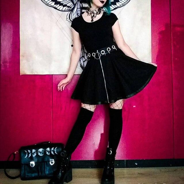 InstaHot Gothic Punk Zip Up Black Skirts Women Autumn Ring High Waist Pleated Winter Mini Skirt Female Bottom Sexy Christmas 3