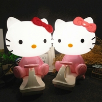 Hello Kitty LED Night light Pink/Red Cartoon Toy car Table Lamps Bedroom Beside desk Lamp Children Kids Gift home decoration