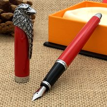 Luxe pen Fuliwen Vulpen Rood met Amerikaanse Bald Eagle Head Clip Pen K2(China)