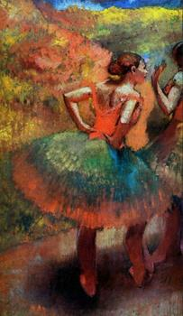 High quality Oil painting Canvas Reproductions Two Dancers in Green Skirts, Landscape Scener (1894-  By Edgar Degas hand painted