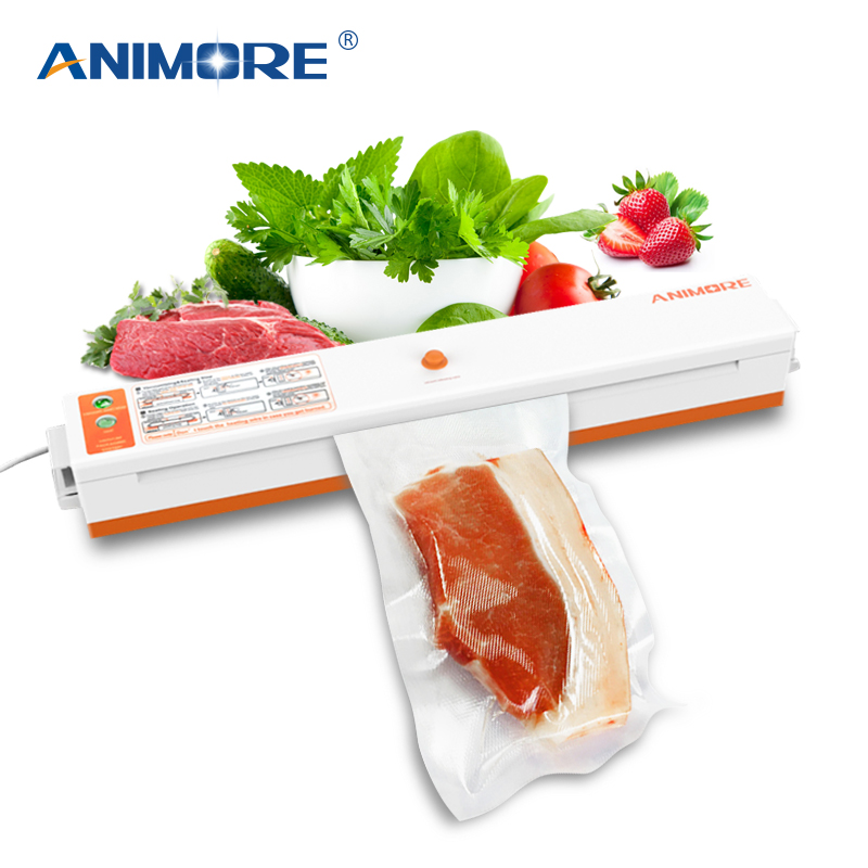 ANIMORE Household Vacuum Food Sealer US-110V/EU-220V Packaging Machine Film Sealer Vacuum Packer Including 10 Pcs Bags VFS-02CANIMORE Household Vacuum Food Sealer US-110V/EU-220V Packaging Machine Film Sealer Vacuum Packer Including 10 Pcs Bags VFS-02C