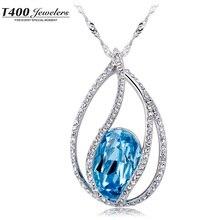 T400 Women's Fashion Made wtih Swarovski Elements Crystal Aquamarine Water Drop Pendant Statement Necklaces #1563 free shipping