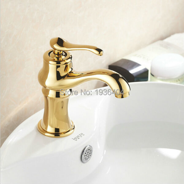Bathroom Basin Faucets Golden Finish Mixer Taps Single Hole Sink Faucet WashbasinTorneira Banheiro G1028