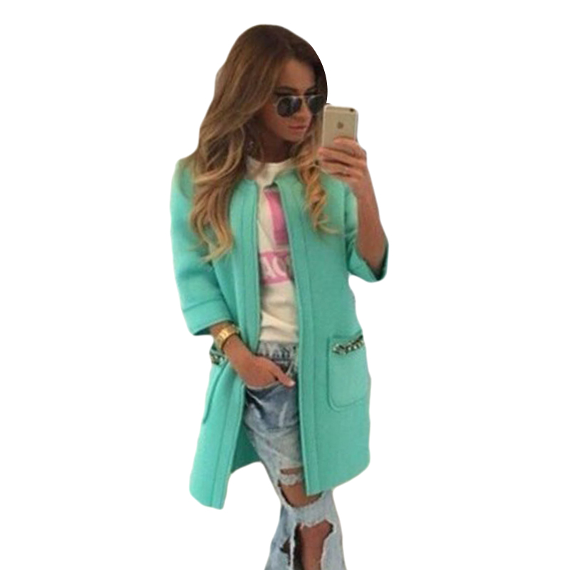 New 2016 Autumn Winter   Trench   Women Casual Coat Long Tops O-Neck Outwear Coats Three Quarter Sleeve Female Cardigan 7124
