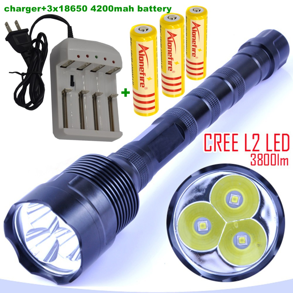3L2 LED flashlight 3xCREE XM-L2 3800 lumens 3* L2 5 Mode 3 * Cree LED Flashlight Torch Lamp + 3x 18650 battery 2016 new smart supfire a3 cree xm l2 1100lm 5 mode usb led flashlight by 18650 battery for hiking driving tour camping fishing
