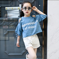 4 5 6 7 8 9 10 11 12 13 Years Girl T Shirt Spring Ripped Kids T-shirt Letter Girls Tops Short Sleeve Children Clothes Teenagers