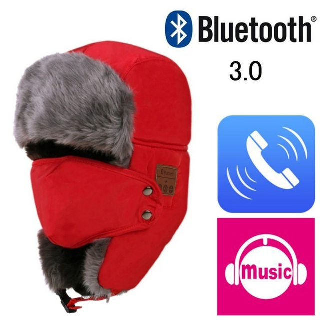 Bluetooth 3.0 Sombrero Unisex Espesar Cálido Faux Fur Winter Beanie Sombrero Auricular Inalámbrico Inteligente Casquillo Al Aire Libre Tapa Blanda