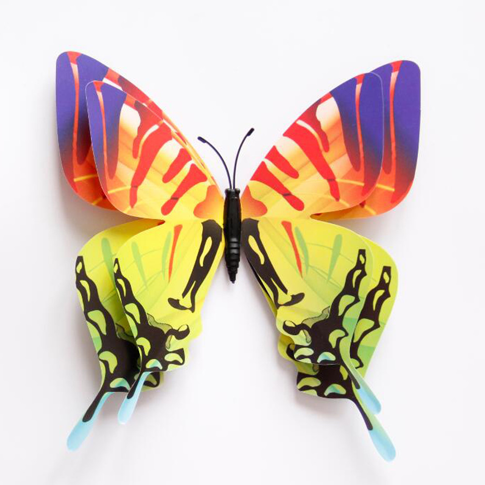 12pcs 3D Butterfly Wall Sticker Fridge Magnet Room Decor Decal ...