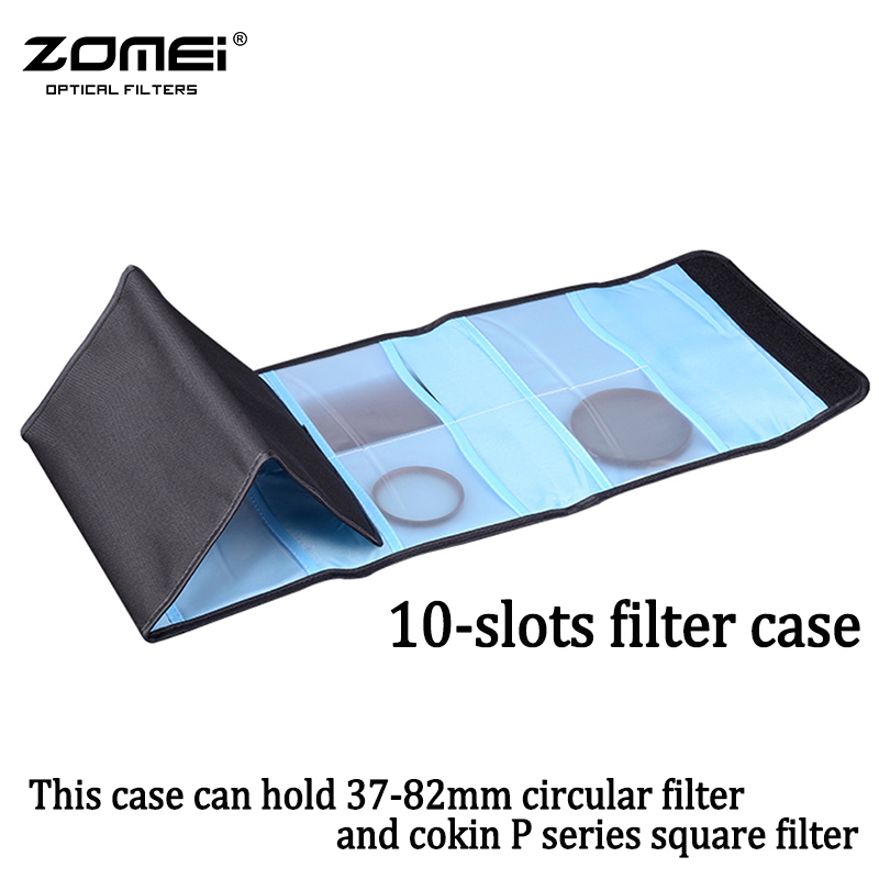 ZOMEI Camera Lens Filter Wallet Case 10 Pockets Filter Bag For 37mm-82mm UV CPL Cokin P Series Square Filter Pouch цена